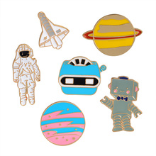 Fashion Clothes Bag Jacket Badge Astronaut Robot Planet Space shuttle Universe Warfare Brooch Metal Enamel Pin for girls boys