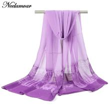 new 2017 fashion gradient colors long scarf women silk chiffon shawl thin long soft shawls and printing scarves Winter wholesale