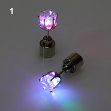 Light Up Led Blinking Stainless Steel Earrings Studs Dance Party Accessories New Year Men Women 1H3B