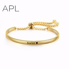Women Fashion Gold ID Bracelets Pearl Chains Custom Name Words Bracelets Free Engraing Name Bracelets for Women Dropshipping