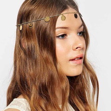 Female fashion pendant chain plate hair accessory head strap helmet forehead chain lady jewels(China)