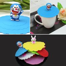 2Pcs Cute anti-slip Anti-dust Silicone  Cup Cover Coffee  Suction Seal Lid Cap Airtight Love Spoon Novelty
