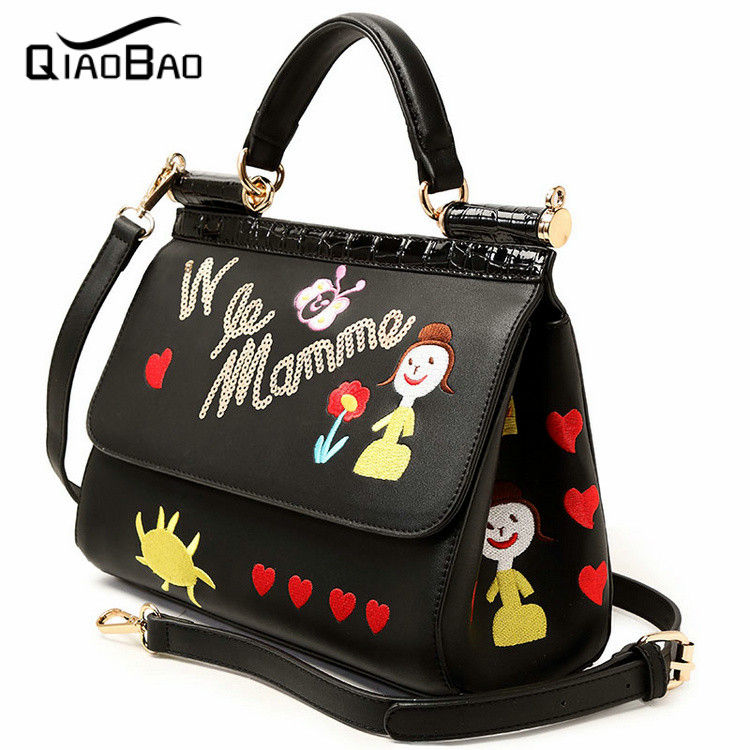 QIAOBAO 2017 New Women Vintage Handbag handmade embroidery doll PU Leather Fashion Women Bag Ladies Shoulder Bag<br>