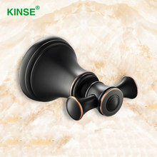 KINSE Luxury Copper Material ORB Finish Vintage Wall Mount Robe Hook Single Holder Metal Coat Hooks Bathroom Accessories(China)