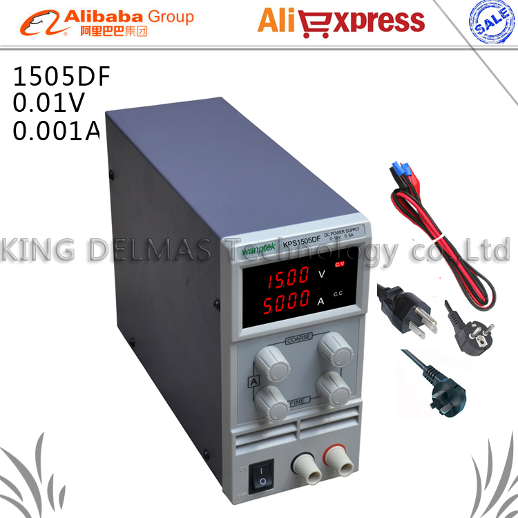 KPS1505DF 15V5A 110V-230V 0.1V/0.001A EU LED Digital Adjustable Switch DC Power Supply mA display<br>
