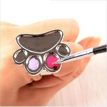 1 Pcs Pro Feet Design Cosmetic Makeup Mixing Palette Tool Stainless Steel Nail Art Ring Tools hot sale