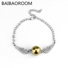 Vintage Jewelry Retro Tone Golden Snitch Pocket Wings Bracelet pulseras For Men and Women Wholesale(China)