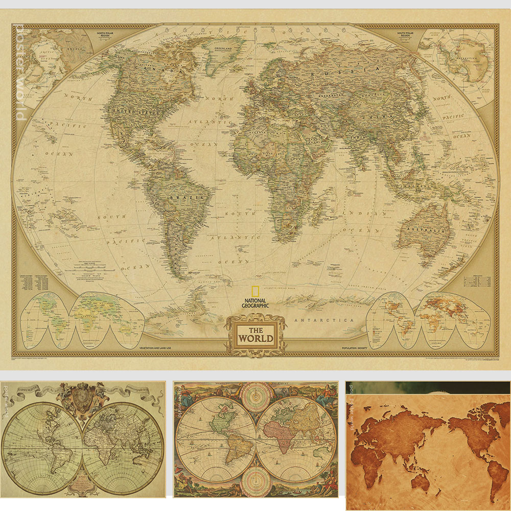US $1.87 15% OFF|Vintage World Map Home Decoration Detailed Antique Poster  Retro Cloth Poster Globe Old World Nautical Map Gifts-in Wall Stickers from  ...