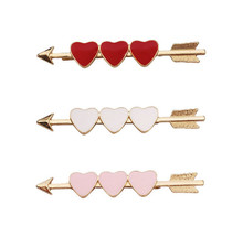H60-020 Free Shipping 10pcs/Lot goody style traditional hair accessories enamel three heart cupids' arrow hair bobby pins(China)