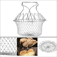 Foldable Expandable Fry Chef Basket Kitchen Colander Magic Mesh Basket Strainer Net Cooking Steam Rinse Strain Basket