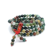 KUNIU Wholesale Natural 6mm Stone Buddhist India Nice 108 Prayer Beads Mala Bracelet Necklace High Quality