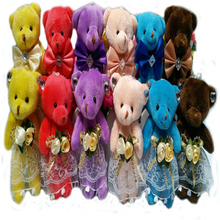 Hot Sale 12cm Plush Christmas Bear Mini Teddy Bear Toys for Cartoon Bouquet Bear,Keychain Toys Wedding Gift J806