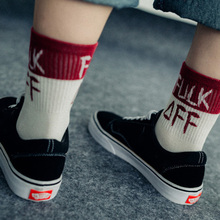 Harajuku USA Street Red and Black Hombre Casual Men Women Cotton Socks Colorful Patchwork Flame Letter Socks Skateboard Socks(China)