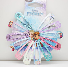 Newest winter style 12 pcs/lot ice and snow charm snap hair clips barrettes lovely hair accessories for women girls headwear