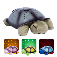 Projector Night Lamp Turtle Light USB Musical Turtle Night Light Stars Constellation Children Bedside Night Light Kids Gift(China)