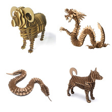 Hot 3D Papermaker Paper Craft Sheep Dragon Snake Dog Animal Model Paper Jigsaw Puzzle DIY Carboard Kid Creative Educational Toy