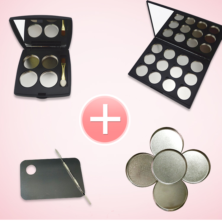 free shipping 12 grid and 4 grid eye shadow / lipstick pressure plate empty box ( mirror , magnet , aluminum plate) with palette<br>