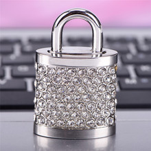 Jewel Metal Lock USB2.0 Flash Memory Stick Pen Drive Disks For Computers Gift(China)