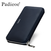 Padieoe Genuine Leather Mens Wallet Leather Zipper Long Wallets Man Business Male Purses Casual Cow Leather Small Card Wallet