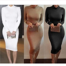Women's Sexy Slim Fashion Europe Style High Neck Clubwear Night Wear Bodycon Dresses 8 Colors NQ950173
