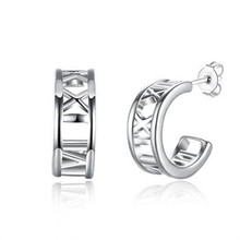 925 Sterling Silver Stud Earrings Trendy Fashion Jewelry Roman numerals Rectangle arrings For Women Eh121