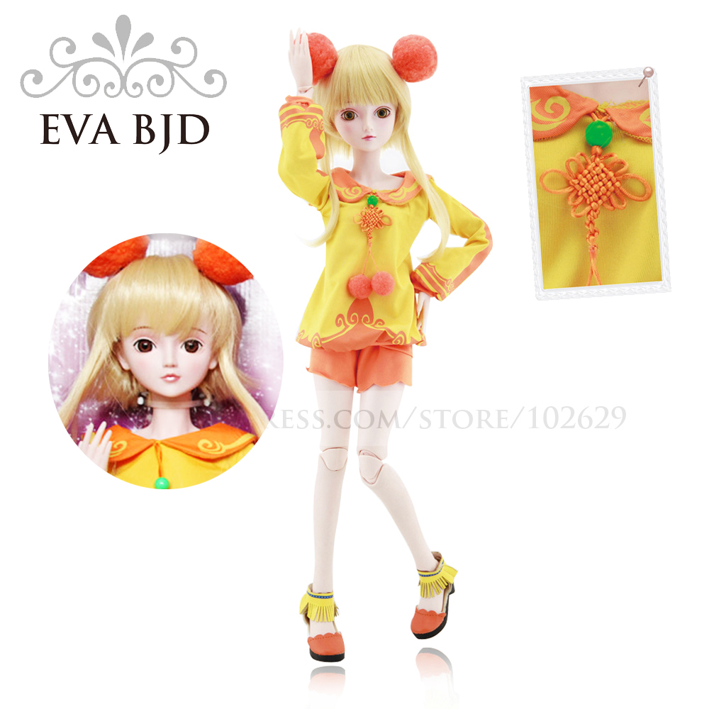 1/3 BJD Doll 60cm 19 jointed dolls Sunny Fairy Girl doll ( Free Eyes + Hair + Makeup + Clothes + Shoes ) EVA BJD DA001-05(China (Mainland))