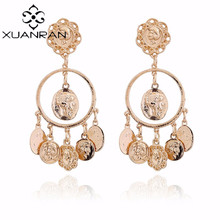 XuanRan Catwalk Baroque Mississippi Avatar Coin Circle drop Earrings Temperament Popular Jewelry Earrings Gifts For Women