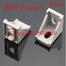 50pcs 2028 bracket corner fitting angle aluminum 20mmx28mm corner bracket fastener for EU standard 2020 aluminum profile(China)