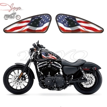 USA Flag American Logo Graphics Fuel Tank Decals Stickers For Sportster XL 883 1200 X/V/R/N/L/C Iron Forty Eight Seventy Two