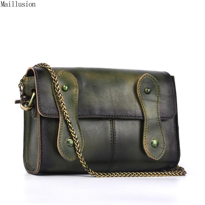 Maillusion Genuine Leather Women Bags Vintage Handwork Brush Off Cowhide Crossbody Bag Mini Female Single Simple Shoulder Bags<br>