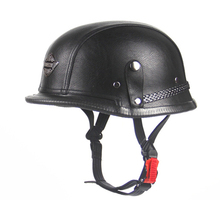 Hot Sell WWII Style Black German Motorcycle Half Helmet Retro Leather Motorcycle Helmet Goggle For Motorcycle Chopper Biker(China)