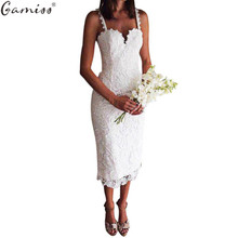 Gamiss Summer White Black Lace Dress Design Sexy V Neck Spaghetti Strap Bodycon Midi Dresses Lace Hollow Out vestidos de festa