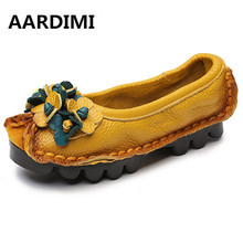 Factory Outlet National Flowers Handmade Genuine Leather Shoes Women Retro Soft Bottom Flat Shoes Ballet Flats Women Loafers