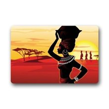 "Custom New ArrivalCartoon African Woman Welcome Door Mat Rug Indoor/Outdoor Mats Welcome Doormat Decor Rug 23.6""(L) x 15.7""(W)"