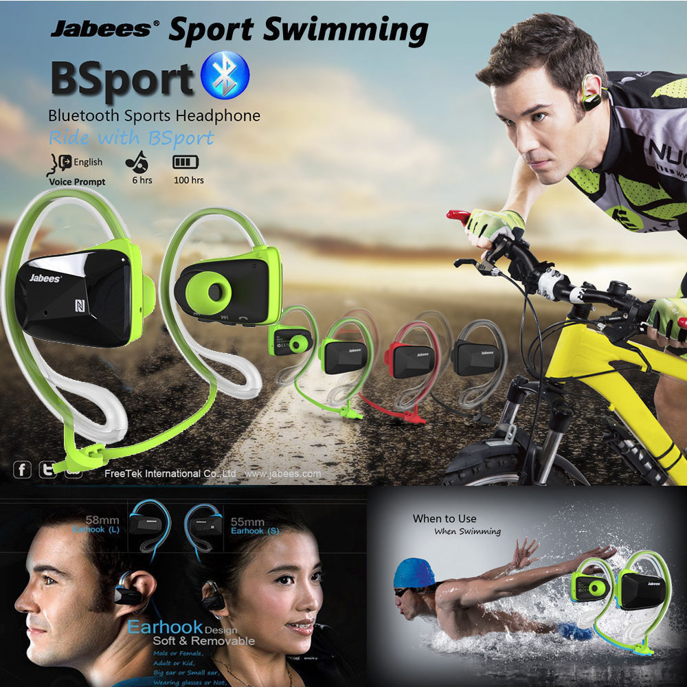 2016 NEW Jabees Bsport 4 Color Bluetooth Wireless Sports Stereo Waterproof Headsets Headphones EarphoneS Free Shipping<br>