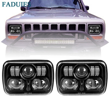 "FADUIES Black 5 X 7"" 6 X 7 inch Off Road Square LED Headlights For 1984-2001 Jeep Cherokee XJ(China)"
