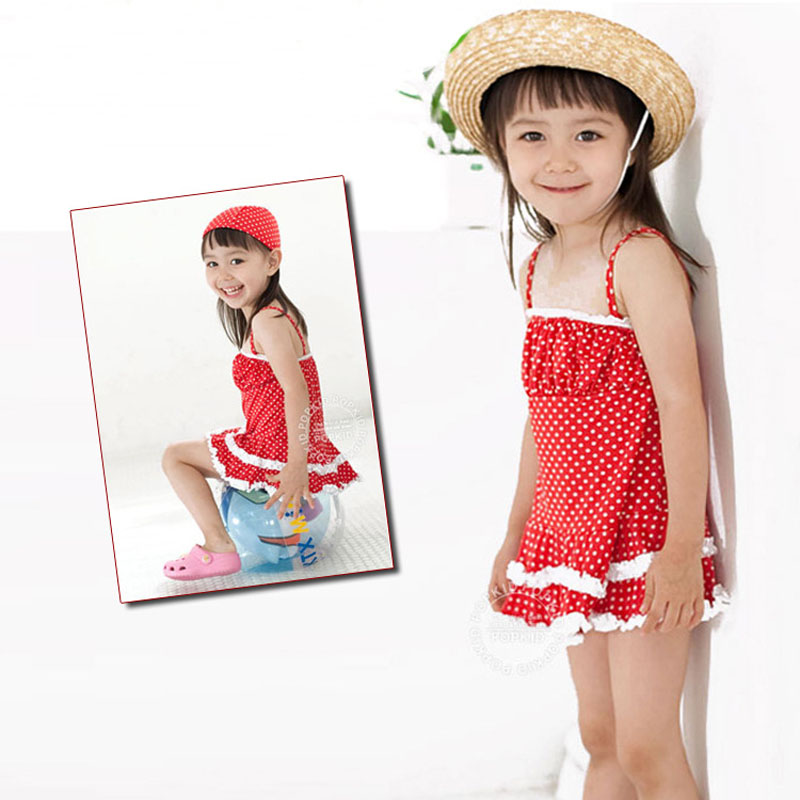 Direct manufacturers produced South Korean kids baby girls red polka dot skirt suit children dress swimsuits with swimming cap(China (Mainland))
