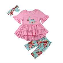 3PCS Toddler Kids Baby Girl Bunny Tops Blouse Dress Leggings Outfit Set Clothes(China)