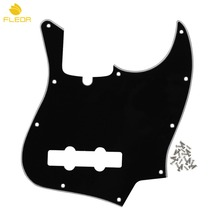 FLEOR Standard 10 Holes JB Bass Guitar Pickguard Scratch Plate Black 3Ply with Truss Rod Notch & Screws for 4 String Bass Style