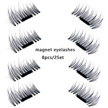 8pcs/2Set Magnetic False Eyelashes Extension Thick Black Magnet Eyelashes Makeup Accessories Kit Maquiagens