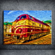 Artwork Wall Oil Painting Prints on Canvas Train Pictures Home Decor Unframed New Cuadros building Decoracion SSBY215(China)