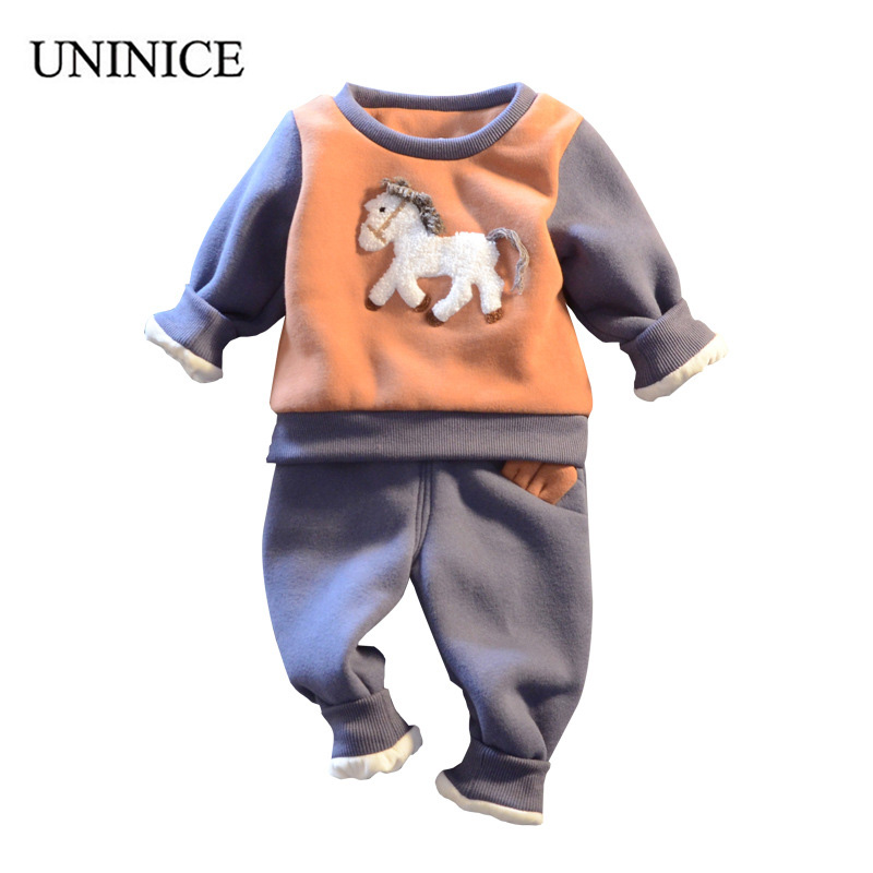 UNINICE Winter Cartoon Pony Casual Boy Clothes Baby Boy Sport Suit Thicker Cotton Long Sleeve Childrens Clothing Kids Set<br>