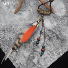 Native American Fringe Necklace Fashion Indian Jewelry Brand Colorful Feather Tassel Pendant Female Long Boho Necklace(China)