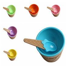 New DIY Eco-Friendly Ice Cream Bowl With A Spoon Set Ice Cream Cup Happy Gifts For Child 6 Colors(China)