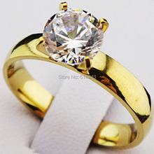 Genuine 10PCS Cubic Zirconia 18k Gold Plated 316L Stainless Steel Engagement Wedding Women Men's Plain Rings Jewelry A075