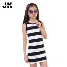 Jilly Children Girls' Clothing Black And White Stripes Summer Girl Dress 100% Cotton 3-14 Kids Vest Dresses for Teenage Girls