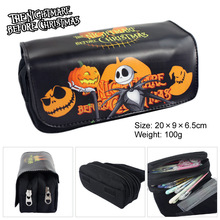 The Nightmare Before Christmas Fabric Stationery Pencil Case ,20*9*6.5cm Cartoon Double Zipper School Pencil Bag Kids Gift(China)