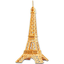 A Toys For Children 3d Puzzle Diy Wooden Puzzle The Eiffel Tower A Kids Toys Also Suitable Adult Game Gift Of High Quality Wood(China)