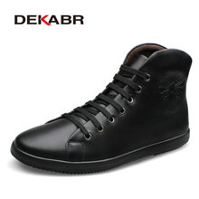 DEKABR Fashion Men Boots Plus Velvet Genuine Leather Quality Brand Snow Winter Boots Autumn Ankle Men Boots Big Size 36-48
