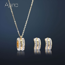 A&N New Shiny Round Stainless Steel Jewelry Set Golden Hollow Circle Inlaid Cubic Zircon Solid Jewelry Sets For Women Never Fade
